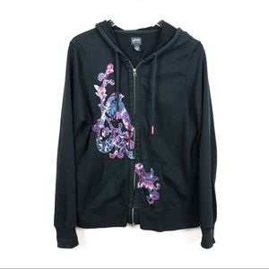 LUCKY BRAND | Black Embroidered Hoodie